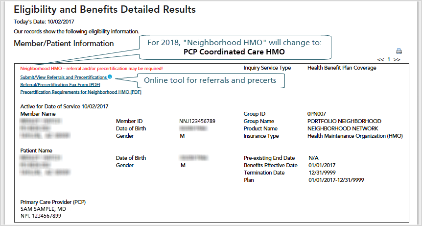 Screenshot of Eligibility and Benefits detailed results page