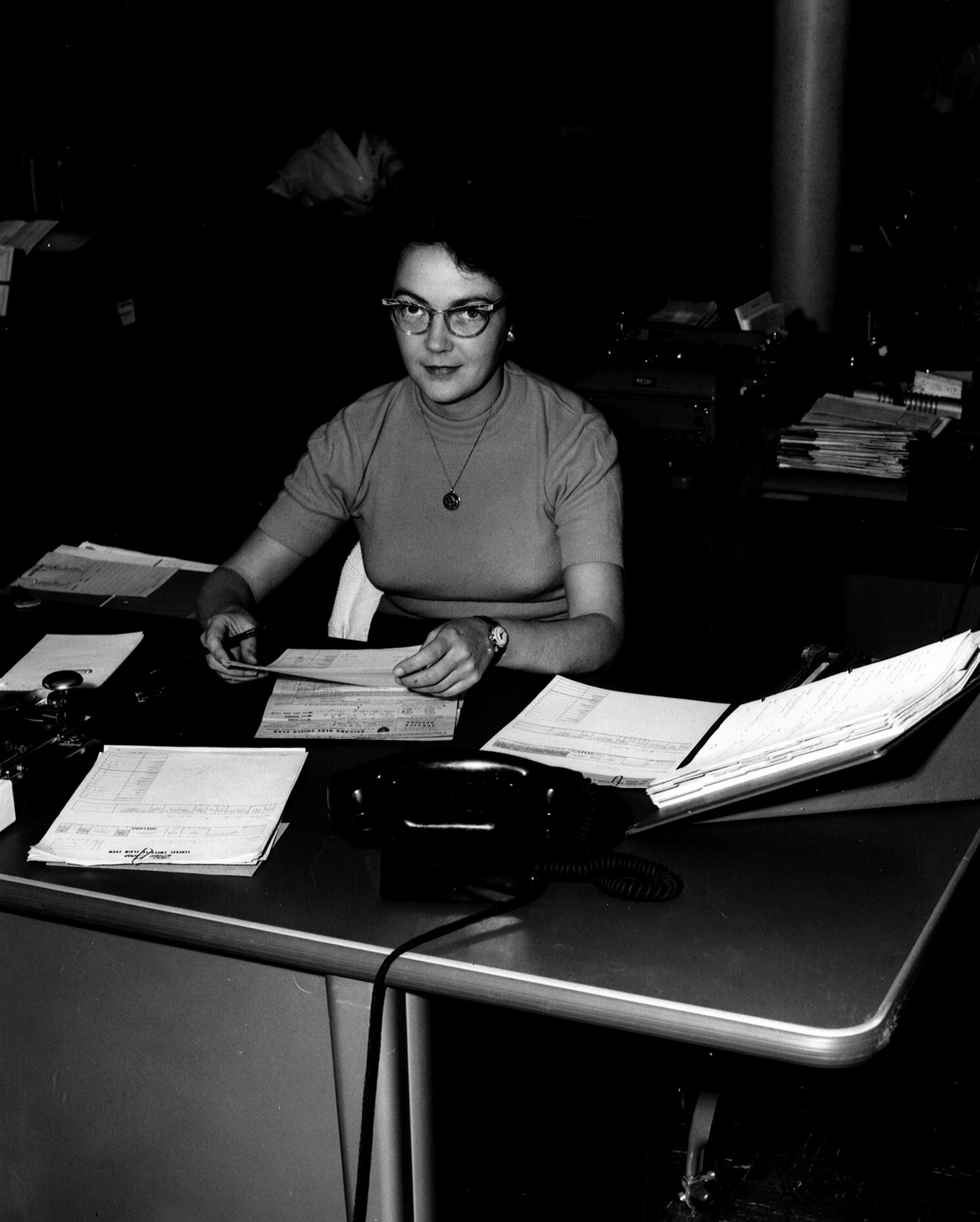1960s, woman at desk