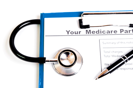 Medicare notice and stethoscope