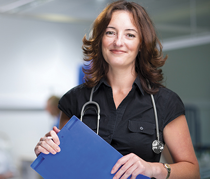 Female doctor with file