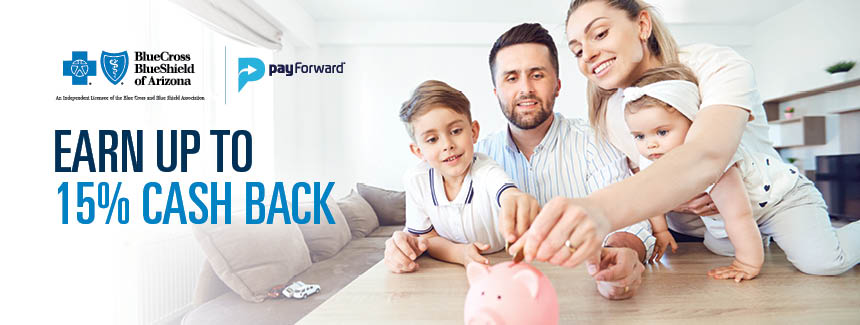 Earn up to 15% cash back through the payforward program
